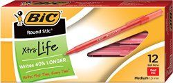 BIC Round Stic Xtra Life Ball Pen 12 ct. ONLY $1.00 - http://www.mybjswholesale.com/2016/07/bic-round-stic-xtra-life-ball-pen-12-ct-1-00.html/