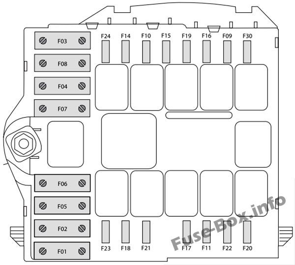 Under-hood fuse box diagram: Fiat Ducato (2015, 2016, 2018