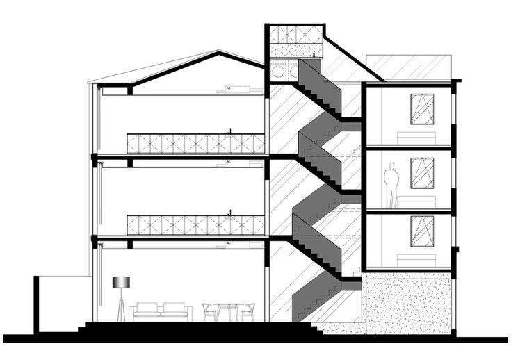 Wohnhausrenovierung in Schanghai, Rethinking the Split House, Neri & Hu, China, 2014, Zeichnung, Längsschnitt