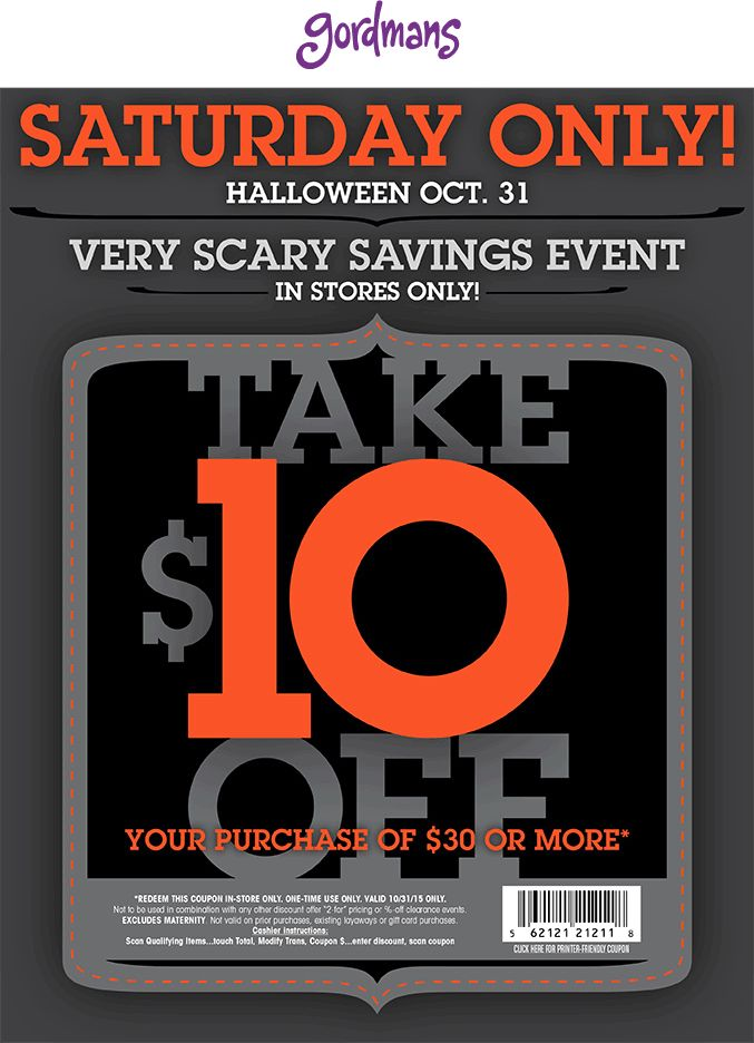 Pinned October 31st: $10 off $30 today at #Gordmans #coupon via The #Coupons App