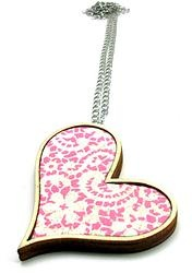 Heart pendant with lace patterned fabric - pink  by Andrea Macsar http://www.h-art.com.au/#!necklaces/c1y06
