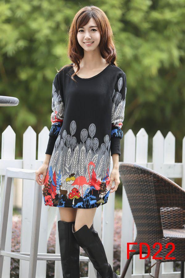Women's Cute Black Long Sleeve Dress - 15FD2206