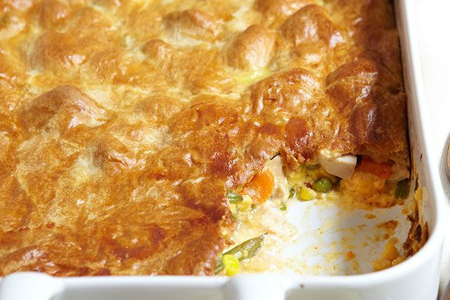 Some classics can't be improved. Pot pie isn't one of them. A delicate crust yields to veggies and chicken in a cheesy sauce. Yes, we said cheesy.