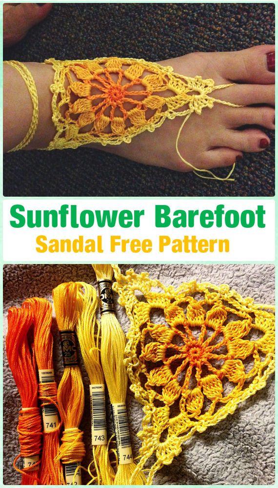 Crochet Sunflowr Barefoot Sandals Free Pattern - Crochet Women Barefoot Sandal Anklets Free Patterns