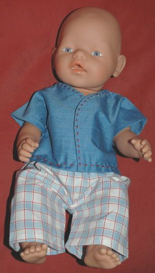 Zapf New Born Baby in boy shirt and pants free pattern