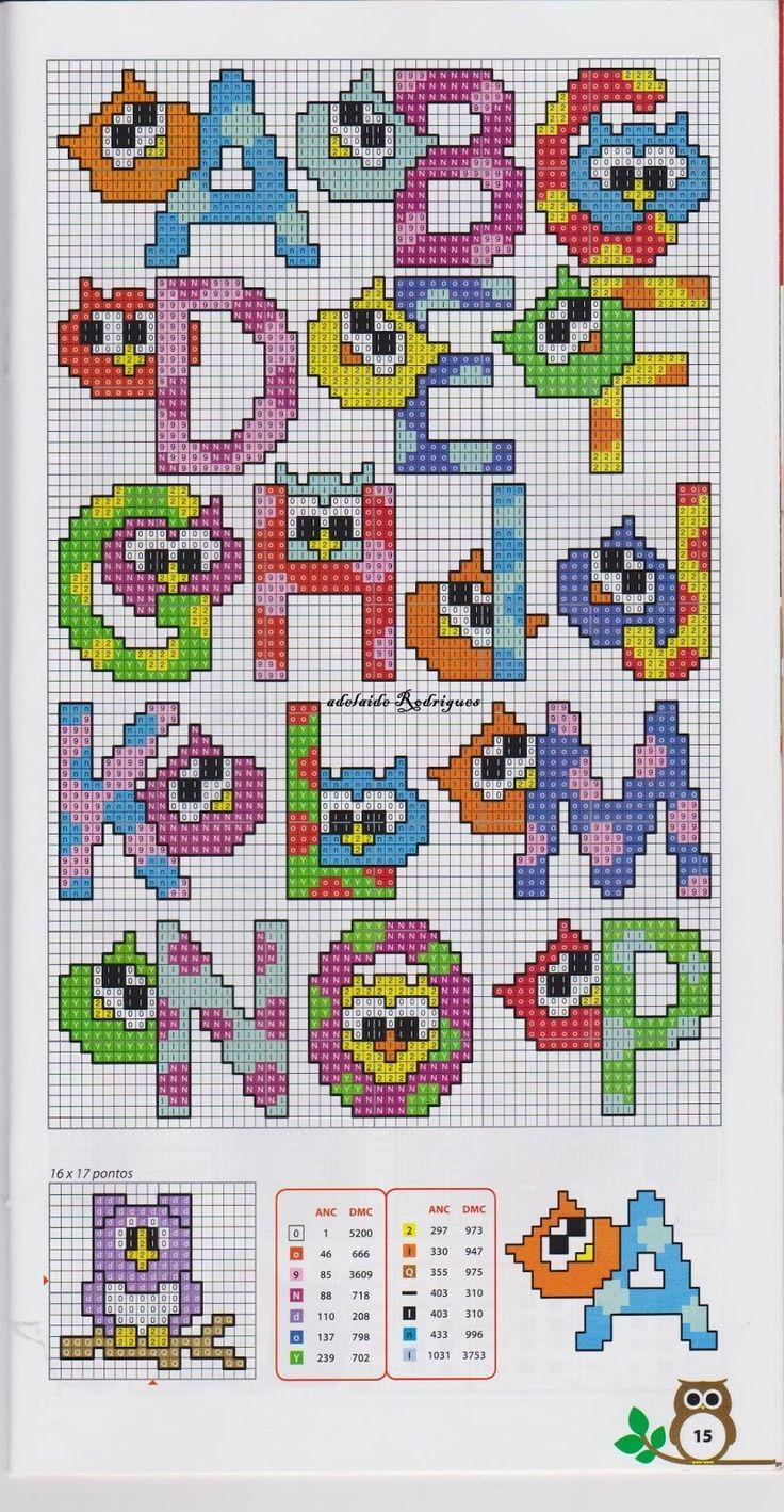 Alphabet perler bead pattern (A-P)