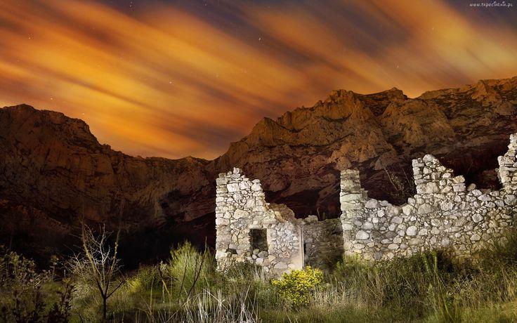 Zachód, Słońca, Góry, Ruiny