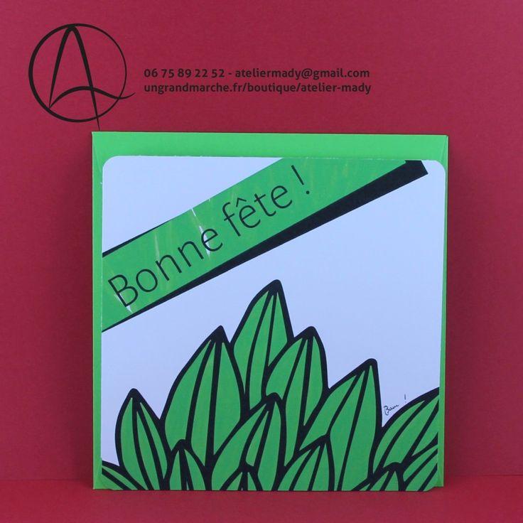 """Carte postale """"Plante en fête"""" illustrée d'une plante verte et du message """"bonne fête"""""""