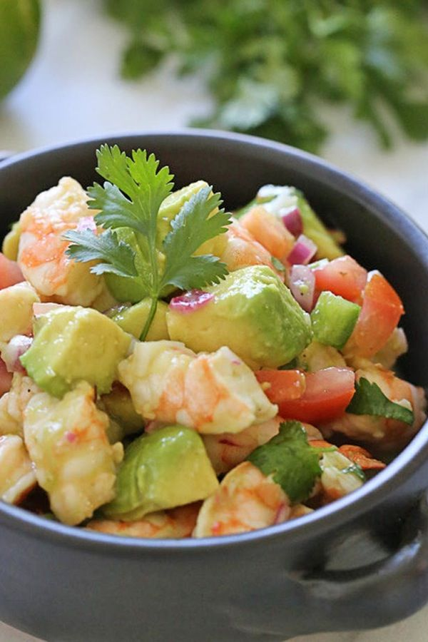 Lime, shrimp and avocado salad.