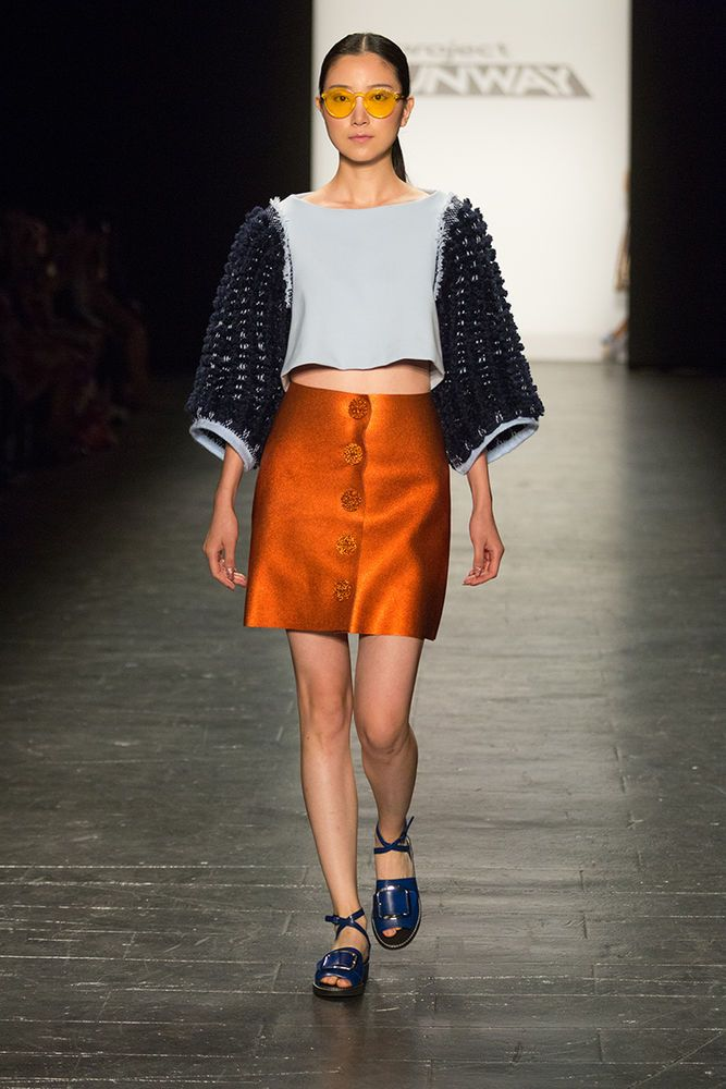 Project Runway Season 15 Ep. 14 Orange Skirt & Light Blue Top by Erin Robertson