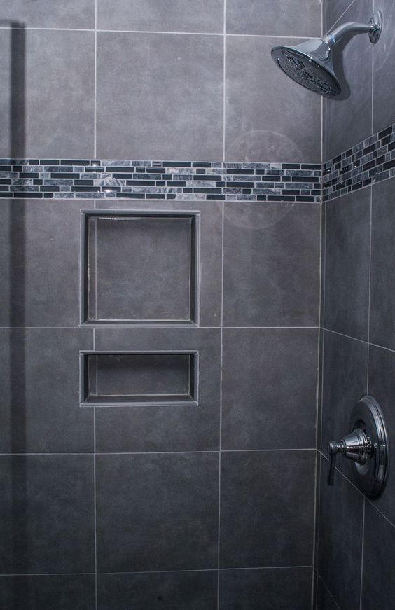 i like this shower gray tile tiny subway tiles built in shelves - Ubahnaufkantung Grau