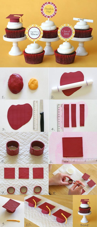 Estas son maneras sobre cómo crear un pastelito pequeño lindo Birretes de graduación! #CupCakeGraduationCap