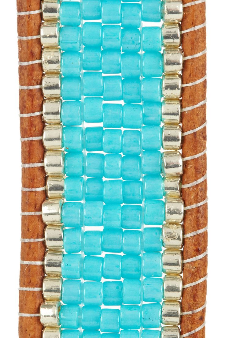 Chan Luu | Silver, turquoise and leather bracelet  | $140 | i can make this...