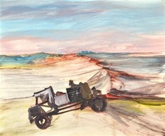 Central Australian Landscape with Truck By Sidney Nolan ,1956