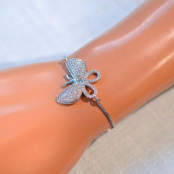 Handmade Micro Pave Cubic Zirconia CZ Butterfly Bolo