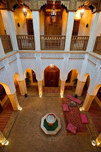 The ornate interiors and courtyards of Morocco.