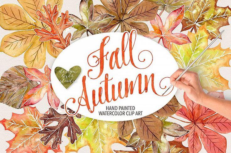 Watercolor Autumn Leaves Fall clip art | Design Bundles