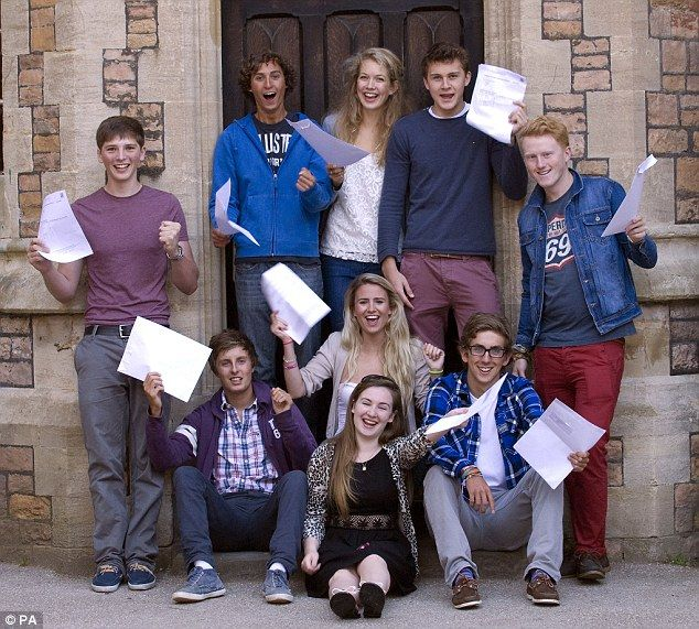 Jubilant: Clifton College students hold their exam results