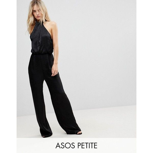 ASOS PETITE Satin Fold Neck Jumpsuit with Keyhole and Wide Leg ($61) ❤ liked on Polyvore featuring jumpsuits, black, petite, keyhole jumpsuit, asos jumpsuit, zipper jumpsuit, wide leg jumpsuit and asos