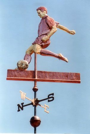 soccer player weathervane by west coast weather vanes we can customize your soccer player using optionally gold leaf to the sections of the sculpture piece - Weather Vanes