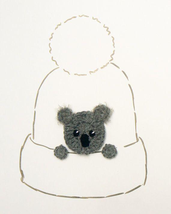 Koala Bear Applique Crochet Koala Bear Hat Applique