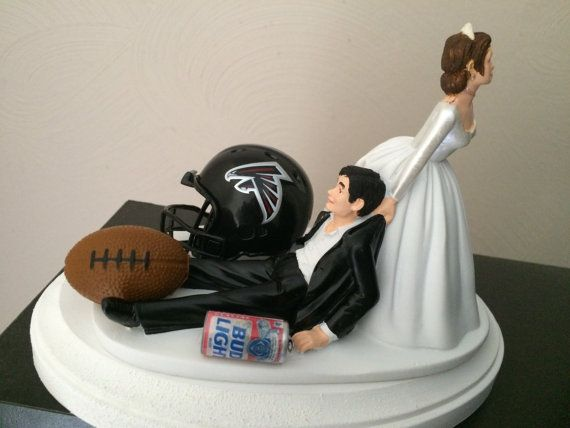 Make the beer Miller Lite, and both of them blonde, and I found the perfect cake topper for our vow renewal  https://www.etsy.com/listing/292685693/atlanta-falcons-cake-topper-bridal-funny