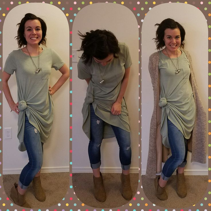 Lularoe Carly knotted and a Sarah Cardigan! Wear with Jeans or leggings!