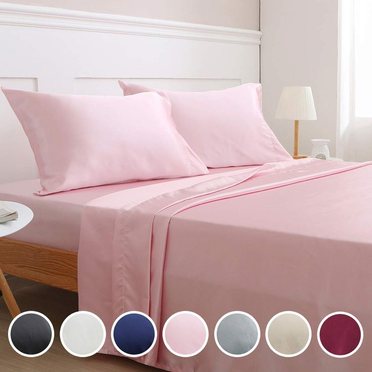 Vonty Satin Sheets Full Pink Silky Satin Sheet Set Deep Pocket