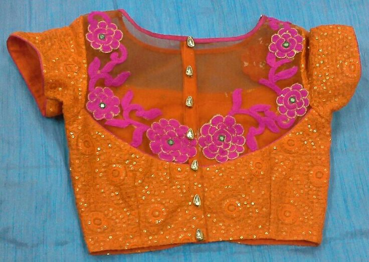 Sequins and thread work blouse with boat neck and aplic work and fancy buttons