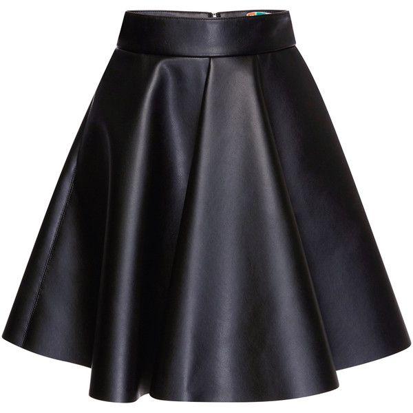 MSGM Eco Nappa Leather Skirt (€385) ❤ liked on Polyvore featuring skirts, mini skirts, saias, faldas, circular skirt, mini skirt, high waisted pleated skirt, high waisted mini skirt and high rise skirts