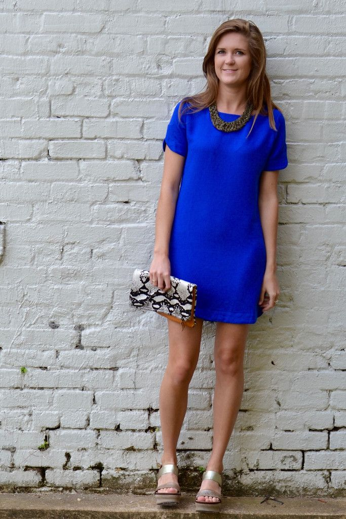 With My Whole Heart Dress royal blue shift dress, OTBT pewter bushnells,  Ceri Hoover python fold over clutch. Perfect look for a summer wedding.
