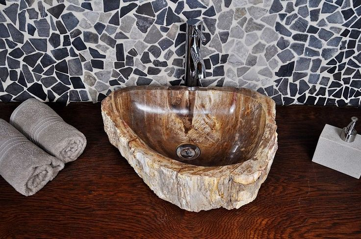 Wash Basin, Overtop Sink Fossil Wood L InduStone fossilised wood very cool 35 x 46 height 14cm £179 ebay German store