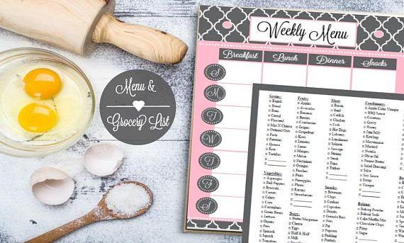 Weekly Menu Planner Weekly Meal Planner Grocery List Meal