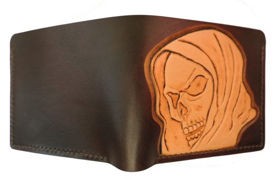 Hand tooled leather wallet hooded skull by AnaMariaGruiaART