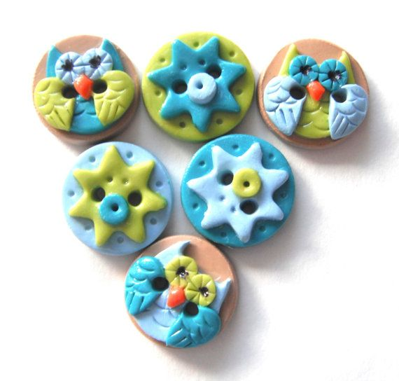 Button Spring Owls handmade polymer clay buttons ( 6 )