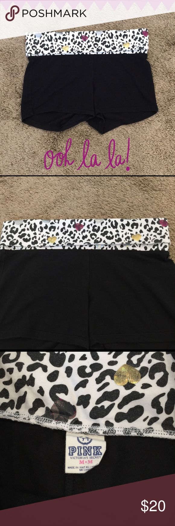VS Pink workout shorts with fold over waist band Super cute Victoria's Secret Pi...