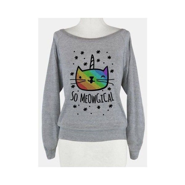 Suéteres divertidos ❤ liked on Polyvore featuring holiday sweaters, cocktail tops, unicorn top, unicorn sweater and special occasion tops