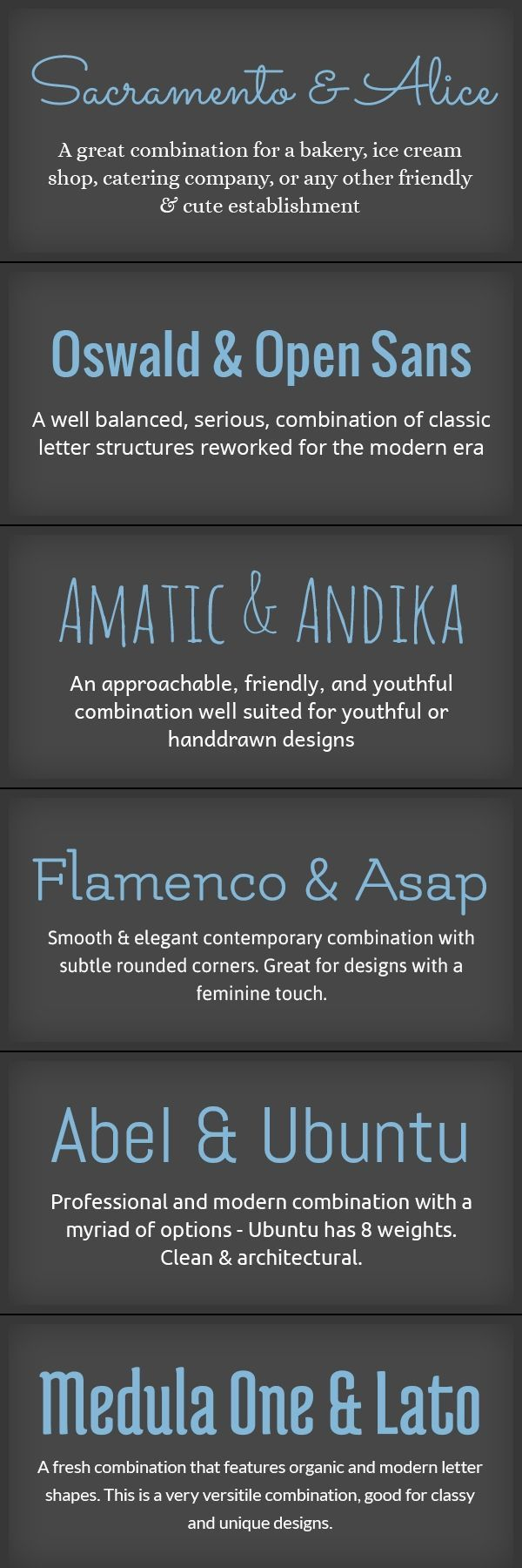 Pairings of Fonts. It's so weird how a good pair of fonts doesn't stand out nearly as much as a bad pair.