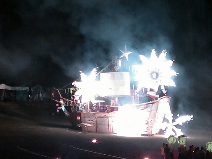Fireworks on the ship at the fire event
