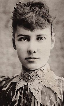 Nellie Bly (1864-1922) was the pen name of American pioneer female journalist Elizabeth Jane Cochran. She remains notable for two feats: an 1889 72-day record-breaking trip around the world in emulation of Jules Verne's character Phileas Fogg, and an exposé in which she faked insanity to study a mental institution from within. In addition to her writing, she was also an industrialist, charity worker, and inventor (receiving patents for am improved milk can and a stacking garbage can).