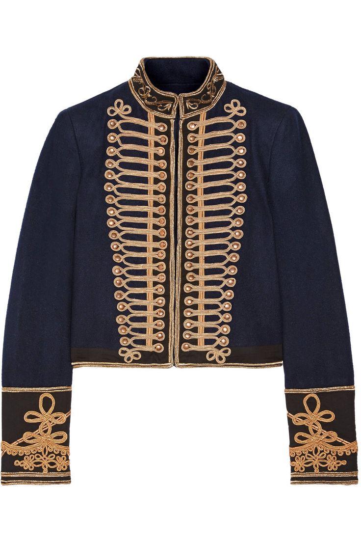 Alice + Olivia | Phoenix cropped embroidered cotton-trimmed wool-felt jacket | NET-A-PORTER.COM