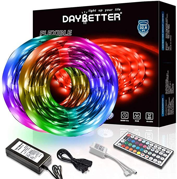 Amazon Com Daybetter Led Strip Lights 32 8ft 10m With 44 Keys Ir Remote And 12v Power Supply Flexible Color In 2020 Led Strip Lighting Strip Lighting Led Light Strips