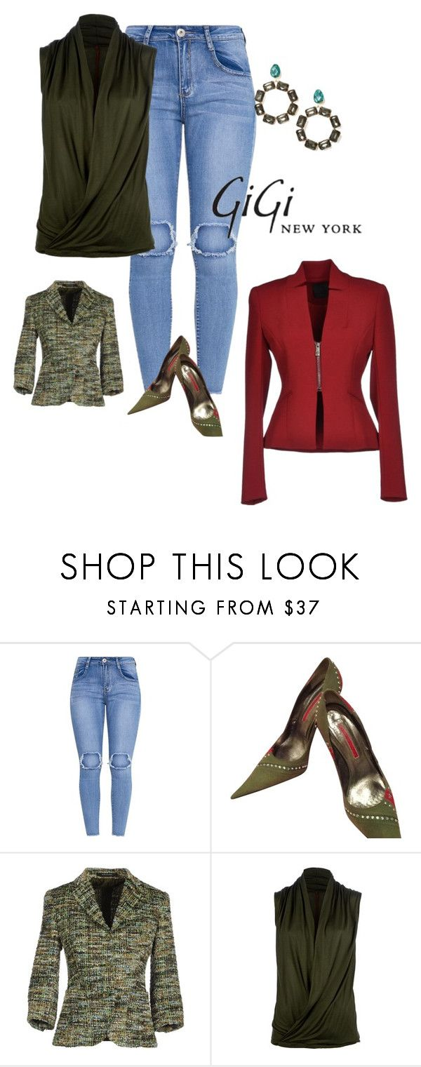 """""""Gianmarco Lorenzi Army Green And Red With Studs Pumps"""" by cheryl-williams-286 ❤ liked on Polyvore featuring Gianmarco Lorenzi, Tory Burch, Tagliatore, A. Friend by A.F. Vandevorst and Pinko"""