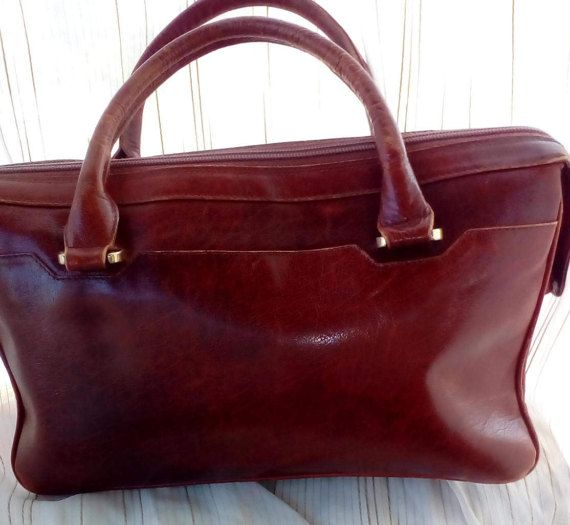 Vintage Lady's Brown Genuine Leather Hand Bag