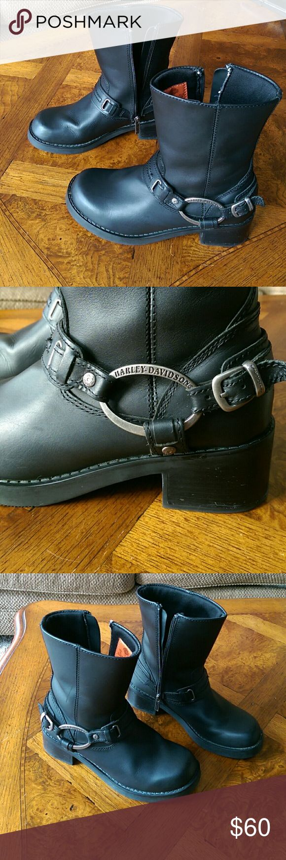 Harley Davidson Boots Women's Harley Davidson Boots size 7. Black leather. Only worn a few times. Great condition!! Harley-Davidson Shoes