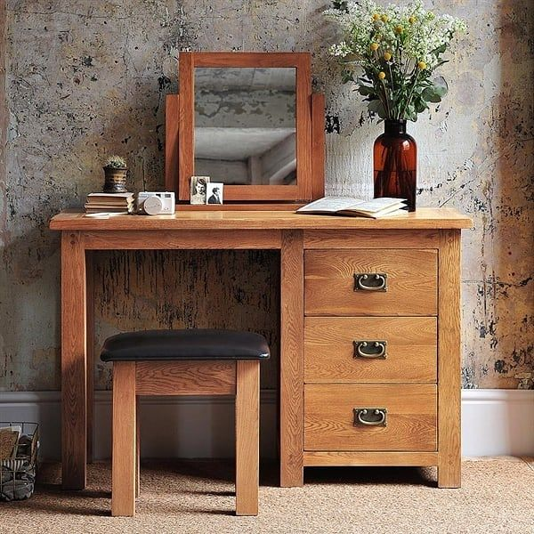 Get Ready Every Morning In Style And Comfort With The Mini Canterbury Oak Dressing Table Mirror And Stool Vanity Decor Dressing Table Rustic Decor
