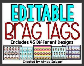 Brag tags are a fun way to recognize good behavior in the classroom and a great way to add to your classroom management repertoire. Students of all ages love adding new tags to their collection!To use, simply print, laminate, cut out, and hole punch the top.