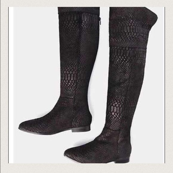 SEXY BLACK CROCODILE LEATHER OVER THE KNEE BOOT Sexy Black Crocodile Leather Over the knee boots. Thigh high boots .True size is 7.5, but runs big can fit up to 8-8.5 Zipper in back. Very comfortable. Brand new without tags. New! Price lower on Ⓜ️er app plus free ship! Ships same or next day . FREE gift with purchase Urban Outfitters Shoes Over the Knee Boots
