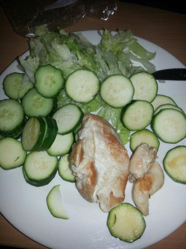 Chicken breast, lettuce,  courgette, cucumber