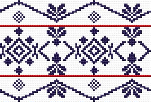 Traditional pattern from Wlodawa (early 20th c.) (folk, polish, design, border)
